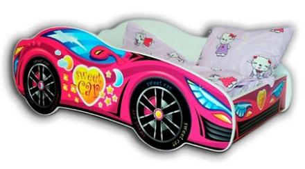Cool beds Racing car bilsäng - Rosa, 140x70