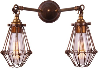 Mullan Lighting Rigo double cage vägglampa - Antique silver
