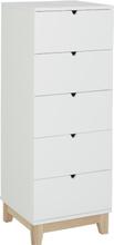 Bornholm Byrå med 5 lådor - vit / natur