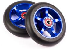 2 stk KOMPLETTE 110mm BLÅ alu hjul fra My Hood