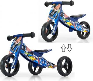 2i1 Træ TRIKE Løbecykel Milly Mally Blue Cars