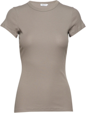 Fine Rib Tee T-shirts & Tops Short-sleeved Beige Filippa K