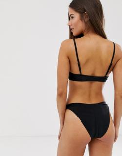 Brave Soul low rise bikini bottoms-Black