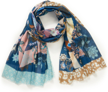 Sjaal hertmotief en grafische elementen Van Codello blauw