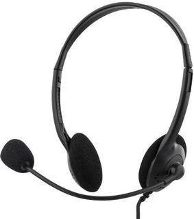 DELTACO, headset med mikrofon och volymkontroll 2m kabel, svart