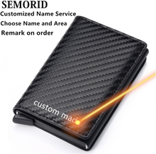 2020 new aluminum alloy rfid anti-theft brush carbon fiber men's wallet card holder bank card wallet