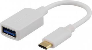 DELTACO USB 3.1 adapter, Gen 1, Typ C hane - Typ A hona, vit