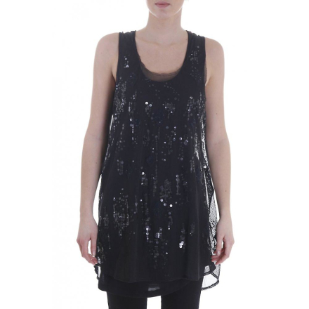 Diesel Womens Mesh och paljett klänning svart L