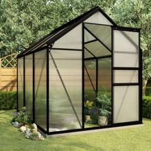 vidaXL drivhus med fundamentramme 3,61 m² aluminium antracitgrå