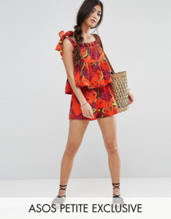 ASOS PETITE Exclusive Tropical Print Short Co-ord - Multi