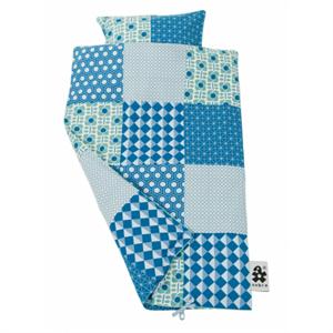 Sebra junior sengetøj, blå patch - Babytorvet.dk