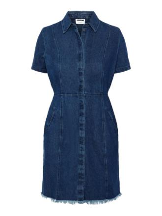 NOISY MAY Short Sleeved Denim Dress Women Blue