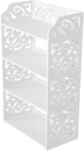 WPC 4 Tiers Hollow Out Shoe Rack Stand Storage Organiser Shelf - White