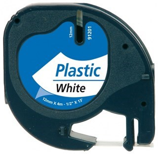 Dymo LetraTag Label Sort Tekst På Hvid Plastiktape (91201) 12mm × 4m (S0721610)