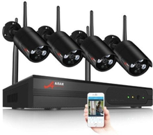 ANRAN Övervakningssystem trådlösa övervakningskameror, Wi-fi NVR-kit 960P