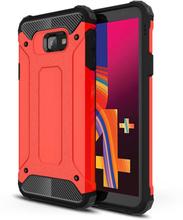 Samsung Galaxy J4 Plus beskyttelses deksel av plastikk og TPU - rød