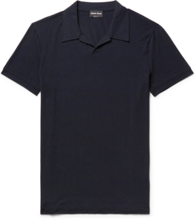 Slim-fit Camp Collar Stretch-jersey Polo Shirt - Midnight blue