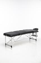 Massagebänk med metallben - 3 zoner - Svart
