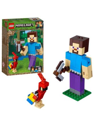 Minecraft 21148 Minecraft™ stor Steve-figur med papegøje - Proshop