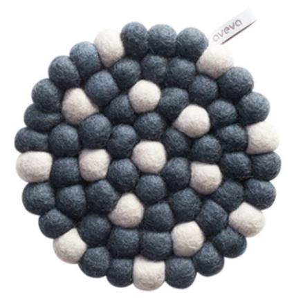Aveva - Rund (medium) -gryteunderlag, Grå-dots