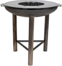 LA HACIENDA Pittsburgh Plancha Large bålfad m. grill - stål, rund (Ø80)
