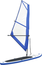 vidaXL Oppblåsbart padlebrettsett med seil blå og hvit