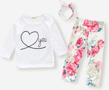 Baby-Blumendruck Langarm-Baumwollset mit O-Ausschnitt für 6-24M