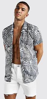 Short Sleeve Revere Collar Shirt In Palm Print