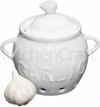Kitchen Craft Vitlökskruka vit med lock