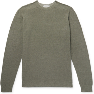 Slim-fit Reversible Cotton-blend Sweater - Gray green