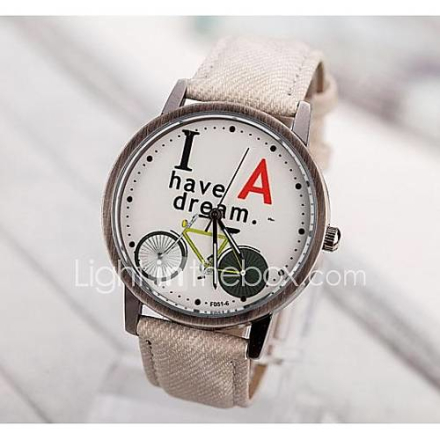 Naisten I Have a Dream Englanti Dial PU Band Quartz Analoginen Rannekello (Assorted Colors)