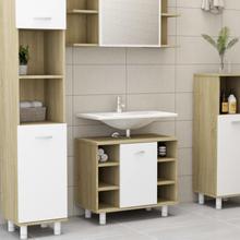 vidaXL badeværelsesskab 60x32x53,5 cm spånplade hvid sonoma-eg