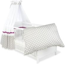 Textilset till Babysäng 4 delar, Prickar/Grå - Beds & Acessories