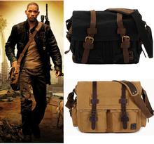I AM LEGEND Will Smith Military Canvas + Genuine Leather Men Messenger Bag Canvas Shoulder Sling Beg