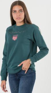 Gant, GANT SHIELD LOGO SWEAT C-NECK, Grøn, Trøjer/Cardigans till Pige, 170