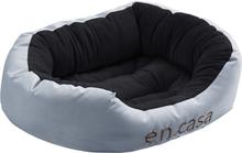 [en.casa]® Kissan- tai koiransänky - käännettävällä tyynyllä -Oxford-kangasta / PP-puuvillaa - 65 x 50 x 23 cm [M] - harmaa / musta