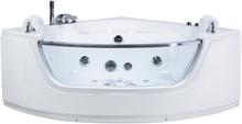 Hjørnebadekar med LED-lys og massage Hvid Mangle