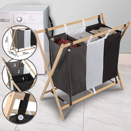 Vasketøjskurv med sortering - 3 rum
