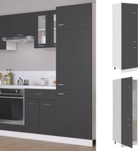 vidaXL Skap for kjøkkenskap grå 60x57x207 cm sponplate