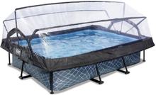 EXIT Stone pool 300x200x65cm med filterpumpe - grå m/dome