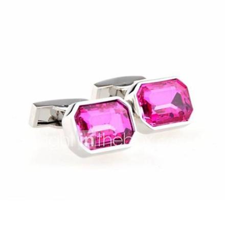 muoti miesten hopea kupari vaaleanpunainen kristalli kalvosinnapit (hopea) (1 pari)