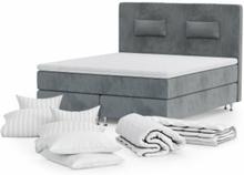 Kontinentalsäng 180x200 cm Gullviva Sammet inkl Sängkläder, Gavel & Gavelkuddar