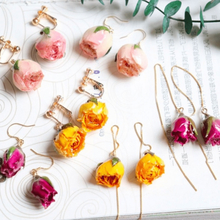 Women Natural Dried Flower Earrings Imitation Colors Rose Drop Earring Party Real Dry Flower Jewelry