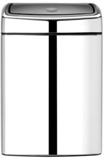 Brabantia Touch Bin Rektangulär, plastinnerhink 10 L Blankborstat Stål