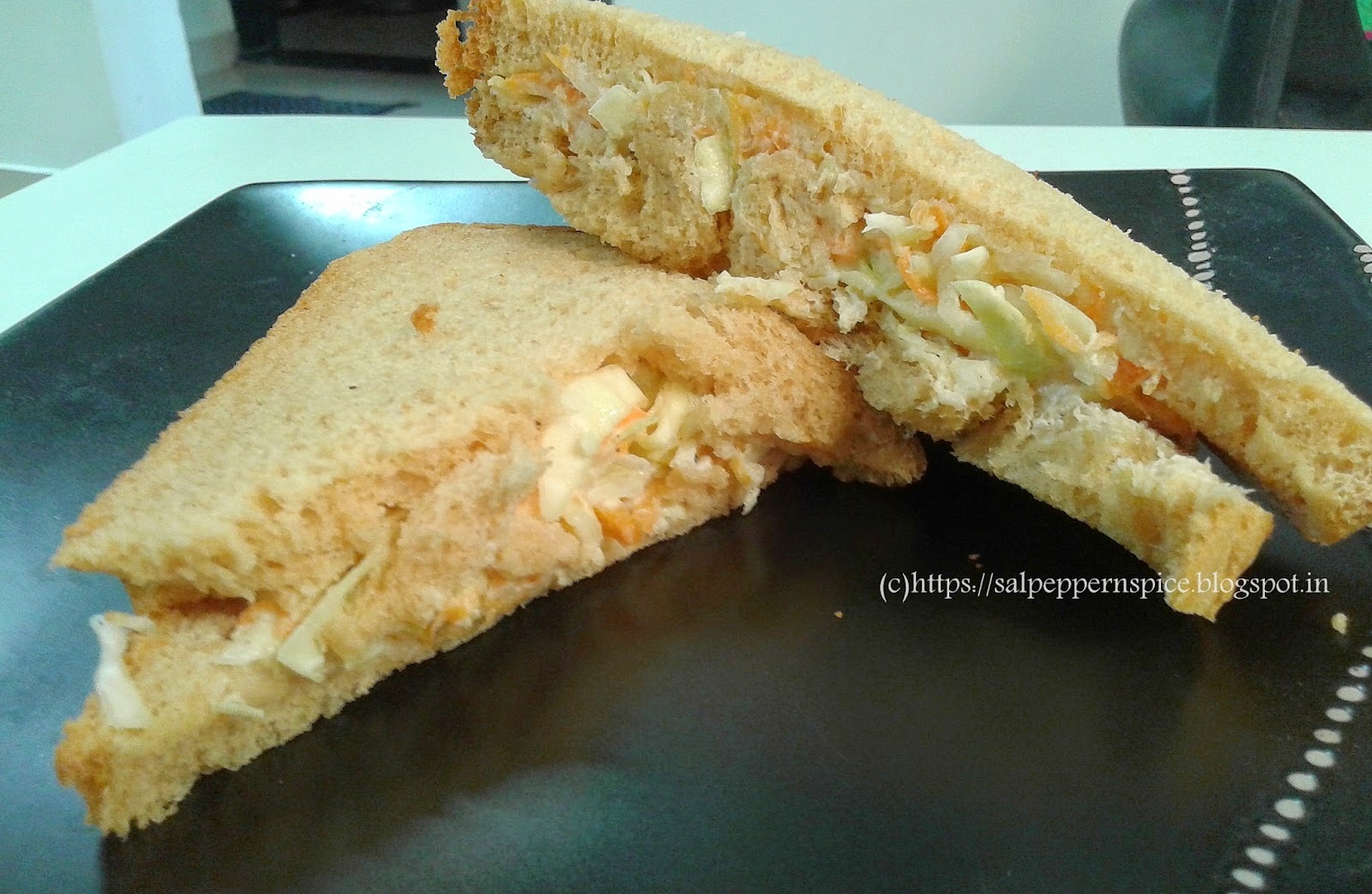 mayonnaise veg cabbage carrot sandwich