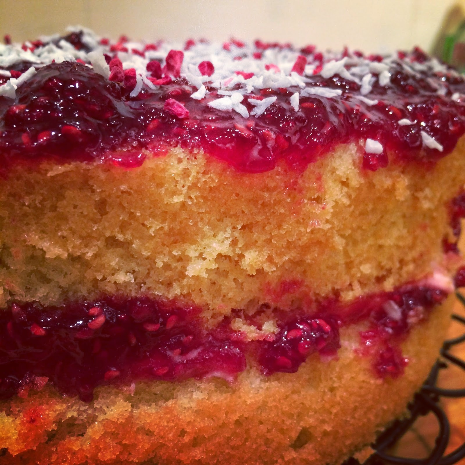 mary berry jam and coconut sponge cake