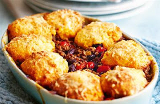 vegetable cobbler with cheese scone topping