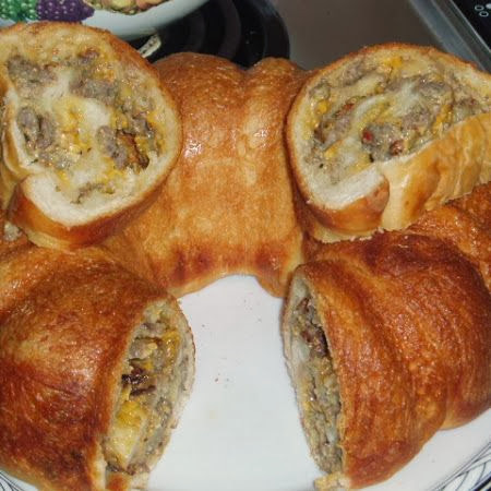 sausage cheese bread rolls in bundt pan for breakfast