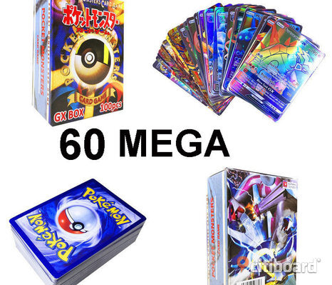60 st MEGA Pokemon Kort Card Holo Flash Trading Hot Sale
