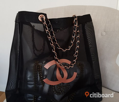 Chanel Shopping Väska Tote Bag Påse Chain Kedja Nät transparent Nätväska